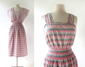 1950s Vintage Dress | Pink and Gray | Striped Dress and Jacket | 50s Dress | Small S