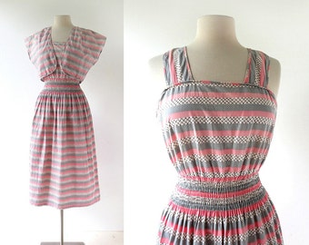 1950s Sundress and Jacket / Pink and Gray Striped Dress / 50s Dress / Small S