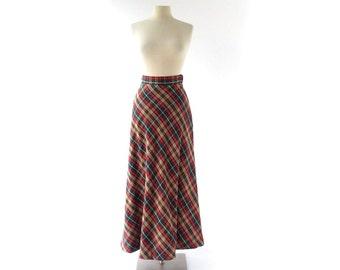 Plaid Maxi Skirt / Vintage 1970s Skirt / Plaid Skirt / 25W XS