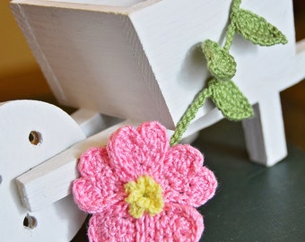 Handmade Crochet Flower Bookmark Pink Primrose