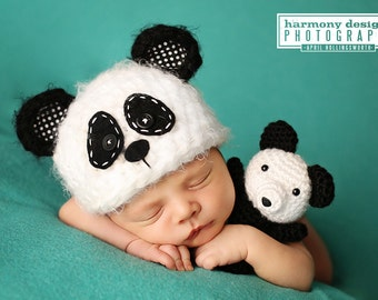 baby panda hat // newborn photo prop // bear hat // boy // girl // black and white // panda bear // fuzzy // baby bear hat // multiple sizes