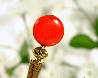 """Red Gold Beaded Hair Stick, 4 1/2"""" Hand Carved Hairstick"""