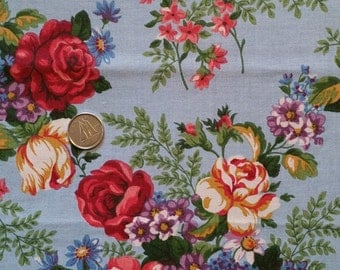 BL004 ~ Blue fabric Flower bouquets Cotton fabric Red roses Pink roses