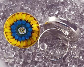 Mosaic Millefiori Adjustable Ring (Medium)