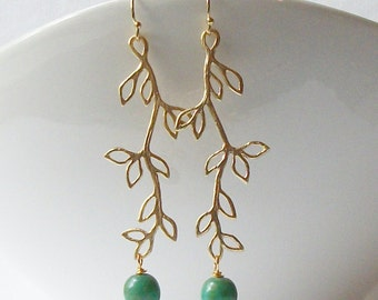 Green Branch Leaf Earrings