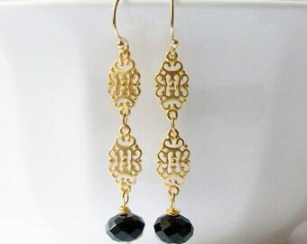 Black Crystal Gold Drop Earrings