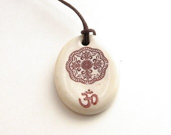 Ceramic Om Mandala Necklace Pendant