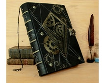Very Large Leather Journal with Lock and Key and Metal Decoration, Steampunk Art, One of a Kind - The Time Machine