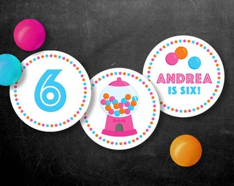 Personalized Gumball Party Cupcake Toppers – 2 Inch Circles  – DIY Printable Pink (Digital File)