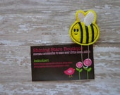 Felt Planner Clips - Yellow And Black Happy Bumble Bee Paper Clip Or Bookmark - Accessories For Planners Or Books - Garden Bugs Accessory