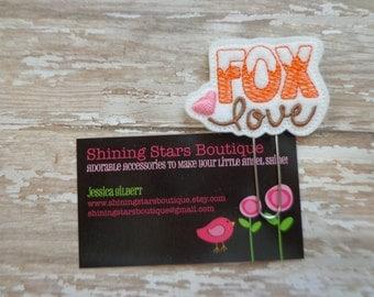 "Embellished Felt Planner Clips - Orange And Pink ""Fox Love"" Woodland Forest Valentine's Day Felt Paper Clip Or Bookmark - Animal Accessories"