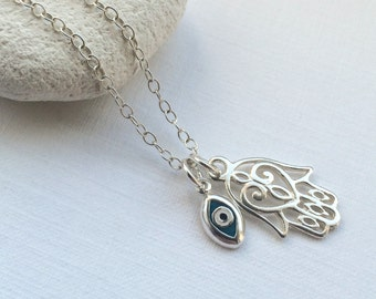 Hamsa Hand and Evil Eye Necklace in Sterling Silver - Hand of Fatima Necklace