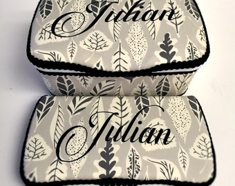 grey leaves diaper case set of 2 personalized grey baby case grey and white nursery wipes case leaves baby clutch boy diaper clutch