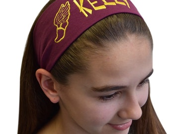 Custom EMBROIDERED TRACK and FIELD Cotton Stretch Headband  -  Personalize With Your Text and School Colors