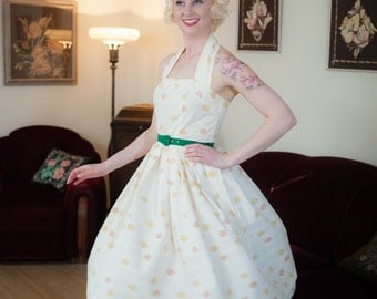 Vintage 1950s Halter Dress - Fabulous Floral Bouquet Print Cotton 50s Sun Dress with Full Skirt