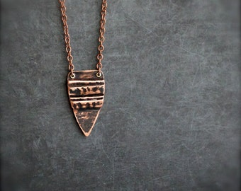 Black Fold Point Pendant Necklace - Rustic Dark Patina, Tribal Inspired Arrow, Fold-Formed Metalwork, Boho Jewellery