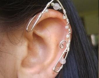 Sterling Silver Elf Ear Ear Cuff Pair w/ quartz stones & unique wirework, Elf Ears, Elvish, Elven Ears, Pixie Ears, Fairy Ears,
