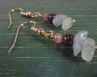 Aquamarine and tourmaline gemstone earrings