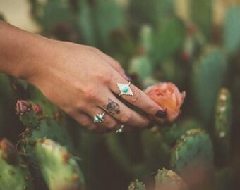 Turquoise ring, sterling silver, matte, geometric, statement, stone // SUNDOG RING