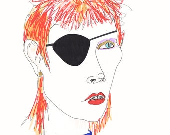 DAVID BOWIE Drawing Print / Ziggy Stardust / Portrait / mixed media / Rockstar / Icon /  sizes a4-a3