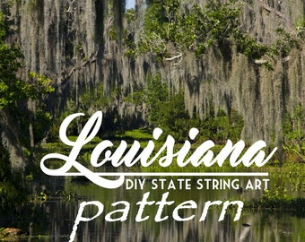 "Louisiana - DIY State String Art Pattern - 8.5"" x 10"" - Hearts & Stars included"