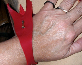 Red Leather Cuff Bracelet with String Rings and Silver Colored Findings
