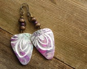 Polymer Clay Lightweight Earrings Beach Jewelry featuring Tropical Flower Design in Purple, Teal and White