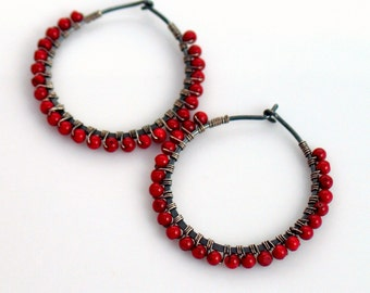 Dark Red Hoop Earrings, Red Coral Beaded Hoops, Oxidized Sterling Beaded Hoops, Fashion Forward, Color Pop, Cross Seasons, Red and Gray
