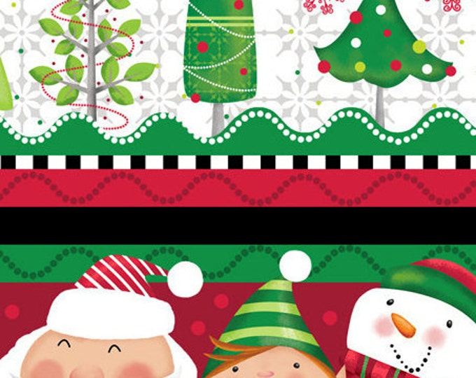 Holiday Christmas Santa fabric Holly Jollies Decorative Stripe Holiday  Santa Fabric by Quilting Treasures