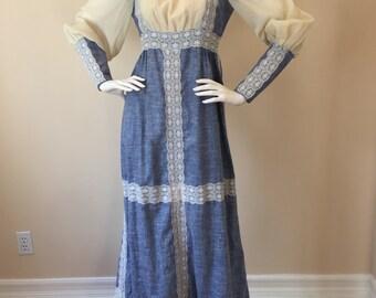 "Vintage Prairie Dress in Cream and Muted Blue - Black Label ""Gunne Sax by Jessica"" Original Label (1969). Very Rare!"