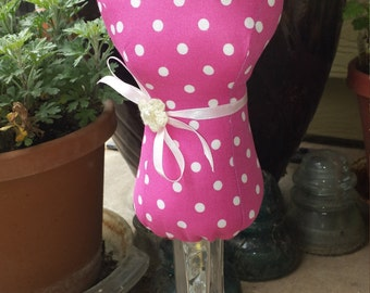 Lady Pin Cushion/Keep, Pink Polka dot, Lady bust, fabric lady statue, dressmaker form