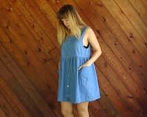 90s Denim Babydoll Mini Dress Vintage - MEDIUM
