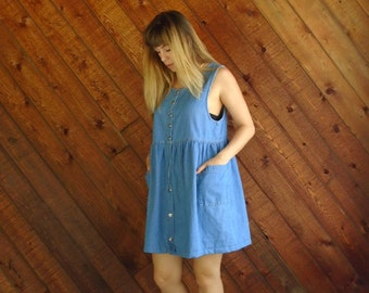 90s Denim Babydoll Mini Dress Vintage - MEDIUM