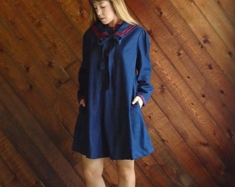 Denim Bib Collar Mini Tent Dress - Vintage 80s - MEDIUM