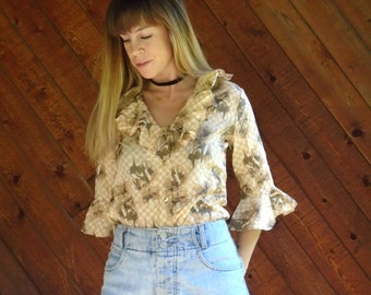 Floral Print Ruffle Sleeve 70s Blouse - SMALL