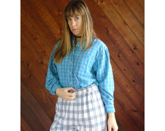 extra 30% off sale . . . Green Purple Plaid Flannel Long Sleeve Shirt- Button Down - Vintage 80s - MEDIUM LARGE M L