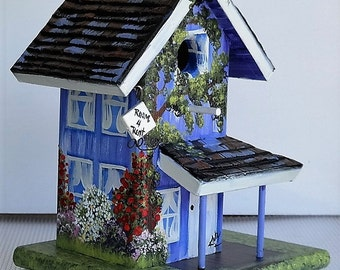 Unique Lavender Birdhouse , Handcrafted , Hand Painted with Opening for Clean Out