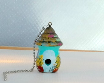 Light Turquoise and Whtie Birdhouse Light / Fan Pull with Lots of Flowers