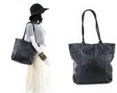 Large Black Leather Tote Vintage Minimalist Carryall Travel Bag Carryon Purse