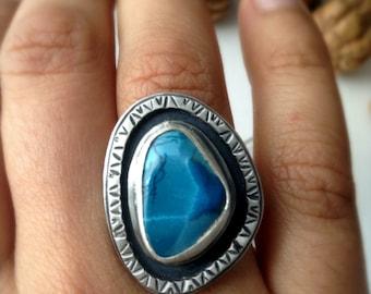 Shattuckite ring, sterling silver, blue gemstone ring, boho ring, size 7.5, ready to ship
