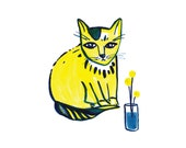 Yellow Cat with Craspedia Giclee Print
