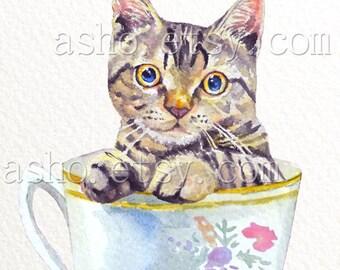 Cat print,cat wall art, woodland nursery print, nursery decor, cat nursery decor, watercolor cat,Teacup Watercolour,kitchen Art,Illustration