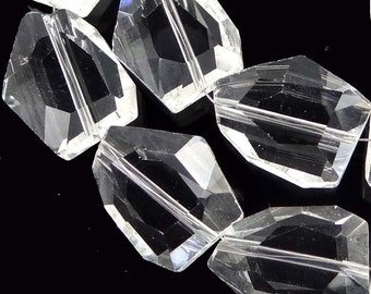 20x15mm Faceted Clear Crystal Quartz Nugget Beads full strand  (e7768)