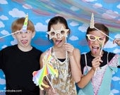 Rainbows and Unicorns Printable PHOTO BOOTH PROPS - Editable Text >>Instant Download<< Paper and Cake