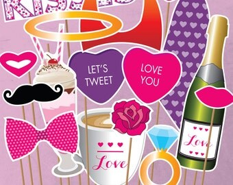 Valentine's Day Printable PHOTO BOOTH PROPS - Editable Text  >> Instant Download << Paper and Cake