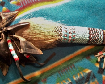 Deer Toe Rattle-deer toes-deer fur-gourd/peyote beaded pow wow