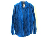 BB EXPLORATION 80s Blue Button Up Long Sleeve Shirt XL
