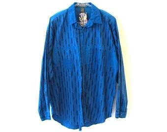 BB EXPLORATION 80s Blue Button Up Long Sleeve Shirt XL