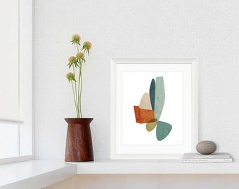 Abstract Giclee Print, Modern, Mid Century Feel, Texture, Blue, Large Print, 8x10, 11x14