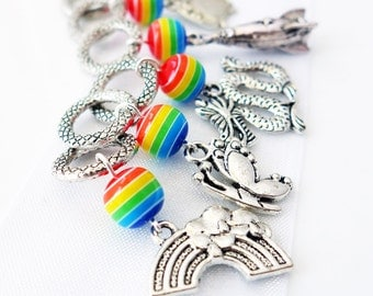 Reading Rainbow - Six Handmade Stitch Markers - Fits 8.0mm (11 US) - Limited Edition